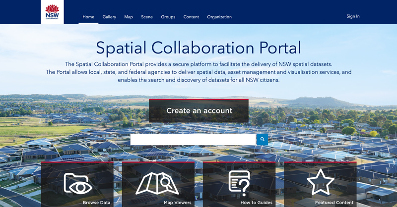 NSW Spatial Collaboration Portal Home Page